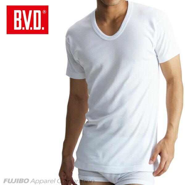 B.V.D.Finest Touch EX U首半袖Tシャツ(S.M.L) 日本製 【綿100%】 シャツ メンズ インナーシャツ 下着 抗菌 防臭【白】【日本製】 【コンビニ受取対応商品】 gn314