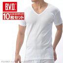 送料無料10枚セット!B.V.D.Finest Touch EX V首半袖Tシャツ(S.M.L) 【日本製】 【綿100%】 シャツ メンズ インナ…