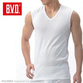 B.V.D.Finest Touch EX V首スリーブレス(S M L) 【日本製】 【綿100%】 シャツ メンズ インナーシャツ 下着 抗菌 防臭 【白】 【コンビニ受取対応商品】 gn354