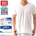 【B.V.D.】 接触冷感 メッシュ編み 吸水速乾 V首半袖Tシャツ LLサイズ 綿100% メンズ インナーシャツ クールビズ BVD 【コンビニ受取対応商品】