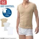 【クールビズ】B.V.D. 吸汗速乾 「 ワキ汗 対策」深Vネック2分袖Tシャツ 多汗症 汗取り インナー メンズ 涼感 ムレ 吸…