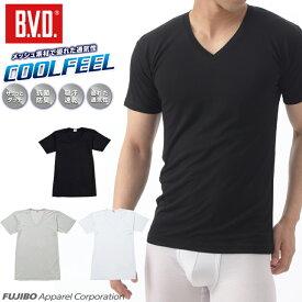 【クールビズ】B.V.D.COOLFEEL「 涼感メッシュ」VネックTシャツ インナー 涼感 メンズ ムレ 吸汗速乾 抗菌防臭 吸水速乾 梅雨 クール 下着 肌着