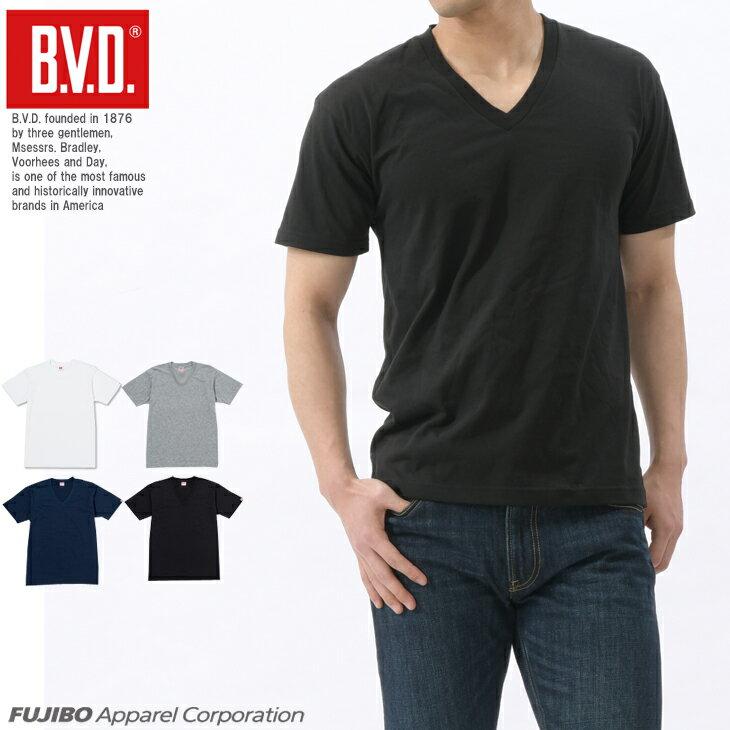 【メール便送料無料】B.V.D. 定番Vネック半袖Tシャツ 無地 吸水速乾