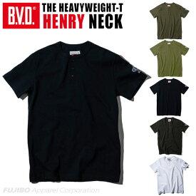 B.V.D. 日本製 ヘビーウエイト 綿100% ヘンリーネックTシャツ ヘイルメリー Hail Mary gr591