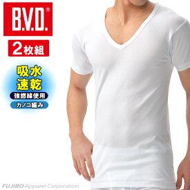 【期間限定50%OFFセール】【期間限定セール】B.V.D. 吸水速乾 カノコ編み V首半袖Tシャツ 2枚組(M,L) メンズ インナーシャツ クールビズ BVD メッシュ 部屋干し