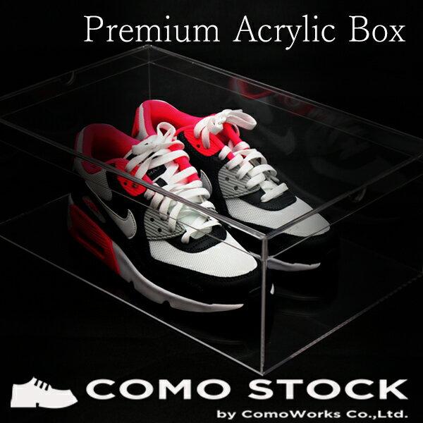 シューズボックス クリア 1箱 アクリル ケース ディスプレイケース ボックス スニーカー 靴 ショー ディスプレイ ボックス 樹脂 ケース プラスチック 透明 靴箱 収納 子供 箱 模型 38×24×14cm 送料無料