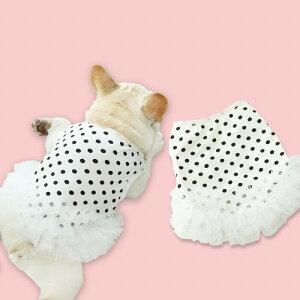 犬服 春 夏 フレンチブルドッグ フレブル 女の子 スカート ペット服 犬 服 洋服 カジュアル おしゃれ かわいい 中型犬 小型犬 大型犬 水玉柄 犬服 ドッグウェア KM077SK