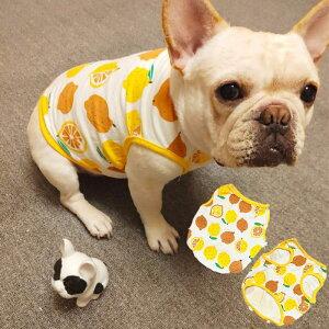 犬 服 春夏 フレブル タンクトップ 中型犬 かわいい おしゃれ レモン フレンチブルドッグ ドッグウェア ダックス ミニチュアポメラニアン ヨーキー シーズー マルチーズ キャバリア パグ パ
