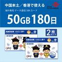 中国本土・香港 China Unicom 長期滞在用データ通信SIMカード2枚セット(50GB/180日)※開通期限2022/09/30 中国SIM …
