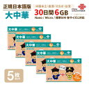 大中華 6GB 5枚お得セット!中国本土・香港・マカオ・台湾 China Unicom 大中華データ通信SIMカード(6GB/30日)※開通期限2021/12/31…