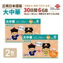 大中華 6GB 2枚お得セット!中国・香港・マカオ・台湾 China Unicom 大中華データ通信SIMカード(6GB/30日)