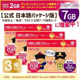 3枚お得set/中国・香港・マカオ データ通信SIMカード[7GB/8日間] 正規日本語版!China Unicom ※開通期限2020/12/31 ☆10月より7GBに増量。