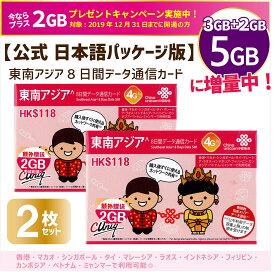 お得2枚set/東南アジア周遊データ通信SIMカード☆10月より5GBに増量!(5GB/8日間)【ベトナム/カンボジア/ラオス/シンガポール/マレーシア/インドネシア/タイ/フィリピン/ミャンマー】China Unicom Telenor/4G ※開通期限2020/09/30