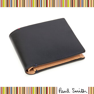 Light swamp leather wallet (not in box) grace, Paul Smith and Paul Smith two fold is an attractive weld edge slim / wallet / purse / mens wallet / long wallet / Navy / Navy /PSU743