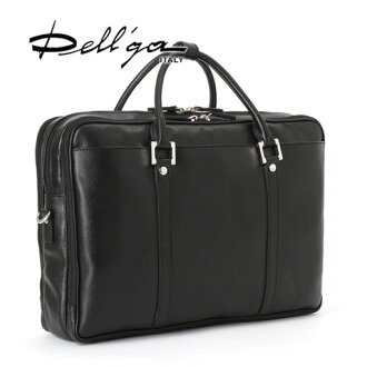 3 layer into black A4 business bag Deleg convenient storage type scratch resistant hard leather made in Italy 2-WAY Briefcase business Cuban / bag genuine leather / Alesa MADE IN ITALY/DELL ' GA