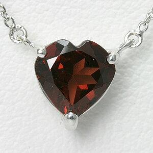 1ctのガーネット ハートネックレス K10WG【送料無料】 1月の誕生石 『 一粒 ネックレス ハートシェイプ 』【楽ギフ_包装】necklace garnet
