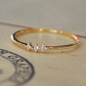 【新作】K10 K18 10金 18金 10k 18k ダイヤモンド リング 指輪 レディース ゴールド 極細 人気 ピンクゴールド 重ね付け 3石 デザイン 4月誕生石 天然石 華奢 シンプル おしゃれ ダイヤリング