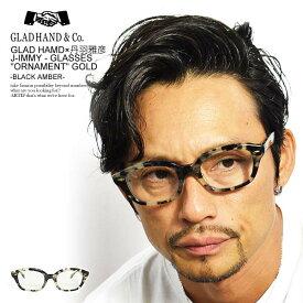 """グラッドハンド× 丹羽雅彦 サングラス GLAD HAND×丹羽雅彦 J-IMMY GLASSES """"ORNAMENT"""" -GOLD BLACK AMBER- ストリート系 ファッション"""