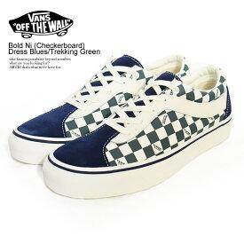 バンズ スニーカー VANS Bold Ni (Checkerboard) Dress Blues/Trekking Green ストリート系 ファッション