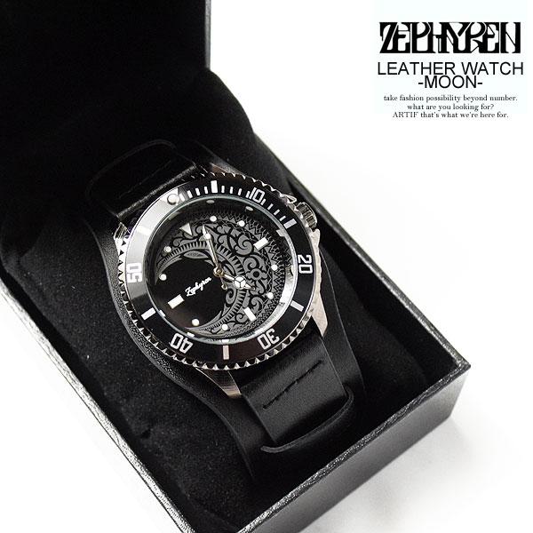ゼファレン 腕時計 ZEPHYREN LEATHER WATCH -MOON- ストリート系 ファッション