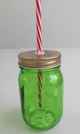 【大人気商品!】Glass jar ガラスドリンクボーカルジャー ストロー付 グリーン 380ml ゴールドキャップ サラダ&ドリンク2WAY(704937)