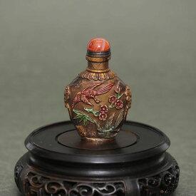 梅に鳥の華麗な世界鼻煙壺180106鼻煙壷 鼻煙壺 中国 芸術 シノワズリー インテリア コレクション 嗅ぎたばこ入れ アンティーク 小物 コレクター 垂涎