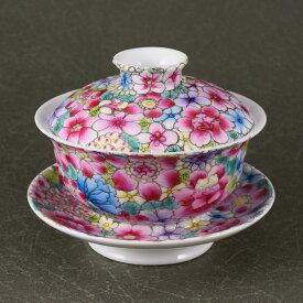 【逸品茶器】精巧な作りが光る景徳鎮窯 万花広口蓋碗蓋碗 茶器 中国 茶器 景徳鎮窯