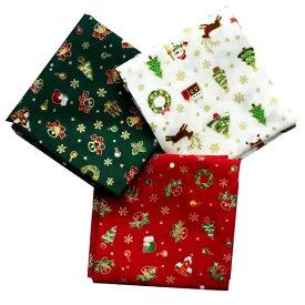 クリスマス生地(布)サンタ リース プレゼント ツリー柄 カットクロス (白・赤・緑)3枚セット