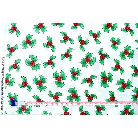 Loralie Designs ローラライ ハリス (ロラライ ハリス)デザイン クリスマス 生地 Christmas ヒイラギ飛び柄 白【30cm以上10cm単位】