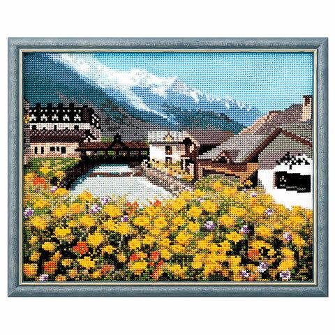 クロスステッチ 刺繍 キット (刺しゅう キット)ルシアン フランスの風景 モンブランと麓の街並み