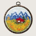 クロスステッチ 刺繍 キット (刺しゅう キット)ルシアン フープ付き 赤い屋根のロッジ 初心者向け