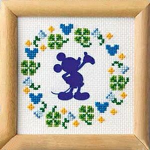 夏休工作(子供手芸)自由研究 小学生 女の子 オリムパス クロスステッチ 刺繍キット ミニフレーム ミッキーマウス