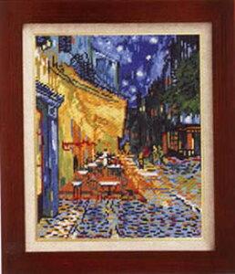 送料無料 クロスステッチ 刺繍キット(オリムパス 刺しゅうキット)夜のカフェテラス(ゴッホ作)