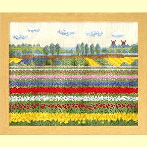 クロスステッチ 刺繍キット(オリムパス 刺しゅうキット)チューリップ畑(オランダ)
