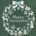 クリスマス クロスステッチ 刺繍キット(刺しゅうキット)クリスマスリース(グリーン)