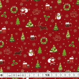 クリスマス生地(布)サンタ スノーマン ツリー ベル柄(レッド)30cmより