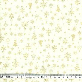 クリスマス生地(布)クリスマスモチーフ ベル 雪の結晶 飛び柄(オフホワイト)30cmより
