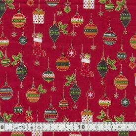 クリスマス生地(布)クリスマスオーナメント 靴下柄 モチーフ レッド(30cm以上10cm単位)