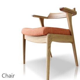 ダイニングチェアー 北欧 肘付き 無垢 ホワイトオーク材 完成品 木製椅子 いす ファブリック 布座面