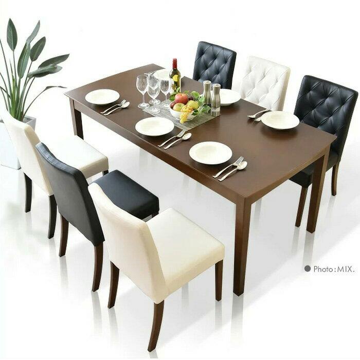 【送料無料】ダイニングテーブルセット ダイニングテーブル7点セット 幅165cm 食卓7点セット 6人用 6人掛け 食卓セット モダン ブラック ホワイト ダイニング シンプル テーブル