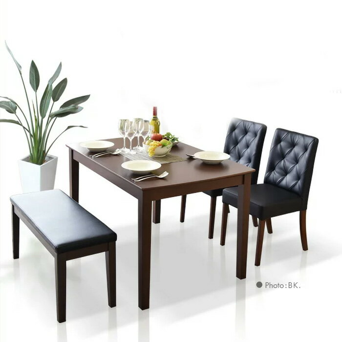 【送料無料】 ダイニングテーブルセット ダイニングテーブル4点セット 幅115cm 食卓4点セット 4人用 4人掛け 食卓セット モダン ブラック ホワイト ダイニング シンプル テーブル