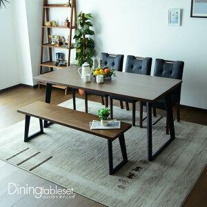 ダイニングテーブルセット ベンチ ウォールナット 6人掛け 北欧 5点セット 幅165 コンパクト 6人用 木製 ダイニングチェアー モダン おしゃれ ダイニングテーブル ブラウン ナチュラル PVC 無