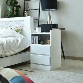 【送料無料】ナイトテーブル 消灯台 幅40cm 木製 完成品 日本製 大川家具 収納スペース付き コンセント付き ブラウン ホワイト ウレタン塗装