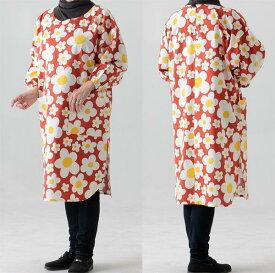 たっぷり ゆったりかっぽう着(割烹着)フリーサイズ丈長丸スリットタイプ627オレンジ花柄生地も縫製も日本製