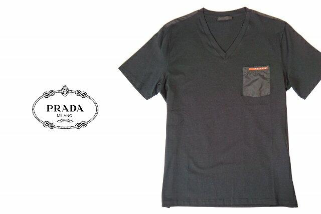 PRADA プラダ Tシャツ ブラック Vネック 赤ロゴ A-1V ▼S M L