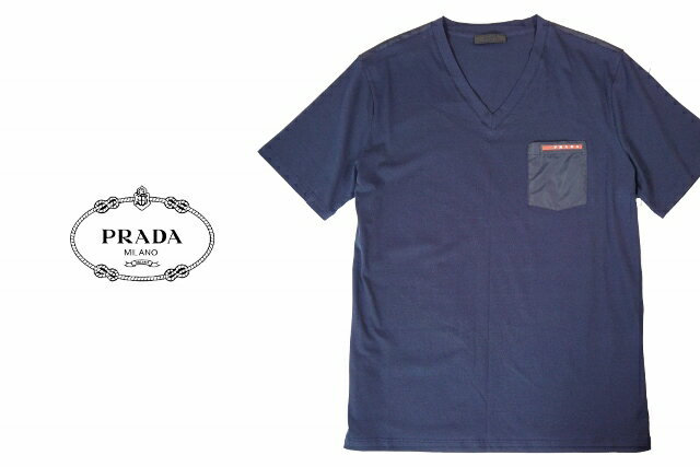 C244.. PRADA プラダ Tシャツ ミッドナイトブルー Vネック 赤ロゴ A-2V ▼S M L