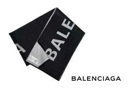 E061 BALENCIAGA バレンシアガ ジャカード ロゴ マフラー スカーフ ブラック×グレー 512732320B01077 男 メンズ 新品