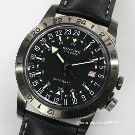 GLYCINE AIRMAN VINTAGE THE CHIEF 12時間表示 GMT機能付き GL0246/GMT BLACK 自動巻き GLYCINE 時計 腕時計 送料無料