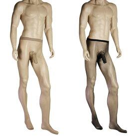 男性用ストッキング メンズ用パンティーストッキング(メンズパンスト) ナイロン 縫い目なしのシームレス サオ付き 極薄 メンズランジェリー DY-0158