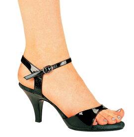 送料無料 Ellie Shoes エリーシューズ/アンクルストラップ付きハイヒールサンダル/エナメル黒/ヒール高さ約7cm(305-JULIET-BLKPAT)